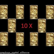 (10X) 1/50th TROY OUNCE OZ GOLD  24K PURE PREMIUM BULLION BAR 9999 FINE INGOTS