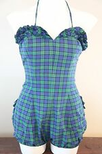 Sexy Vintage Pin-Up 1960's PETTI OF ENCINO Swimsuit Plaid w/Sweet Ruffle Details