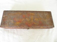 Antique Pyrography 1920' Flemish Art Co. 681 burnt wood glove box w Cherry
