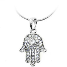 "Silver Color Hamsa Hand of Fatima Pendant with White Crystals and 16"" Chain"