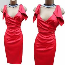 DM199 Karen Millen Red Origami Satin Cocktail Party Wiggle Dress 10 UK/EU 38
