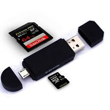 Micro USB OTG to USB 2.0 Adapter SD/Micro SD Card Reader+ standard USB Male