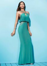 Forever Unique Jewel Embellished Trim Petra Slinky Evening Maxi Jade Dress 14 42