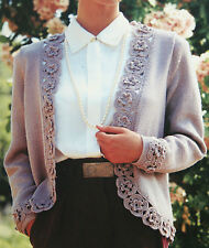 Ladies Cardigan/Jacket Knitting Pattern with CROCHETED MOTIFS (BK019)