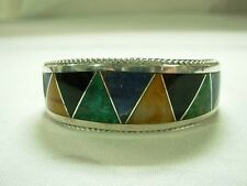 SIGNED MEXICO STERLING INLAID LAPIS ONYX MALACHITE TIGER EYE CUFF BRACELET ~WOW!