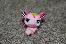 Littlest Pet Shop Pink Black Mouse #2165 LPS Toy Blue Eyes Hasbro Green Bow Cute