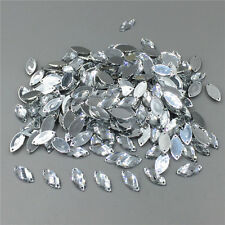 100pcs Acrylic Rhinestones W/ Holes Sew On/ Flatback Button Oval 1.5mm