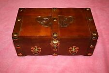 Vintage Carved Wooden Jewelry Box Chest with Slide Tray & Mirror
