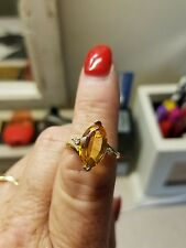 14K YELLOW GOLD MARQUISE CUT CITRINE RING WITH DIAMOND ACCENTS SIZE 8