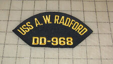 "U.S.S. A.W. RADFORD DD-968 Destroyer 6"" Base Ball Cap Patch Possibly Iron-on?"