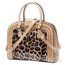 New Ladies Leopard Print Patent Leather Tote Bags Womens Shoulder Handbag Beige