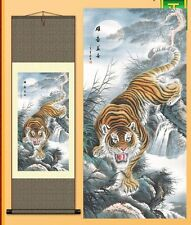 Great Gift and Decor! Chinese Silk Scroll Paint----Tiger S027