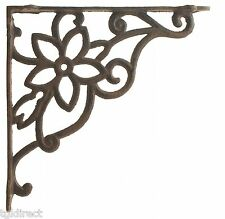 "Cast Iron Wall Shelf Bracket Brace Vine & Flower Rust Brown 9.625"" DIY Crafting"