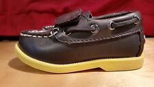 SONOMA TODDLER BLACK FAUX LEATHER DECK/BOAT SHOES W/YELLOW SOLES/VELCRO  SIZE 5M