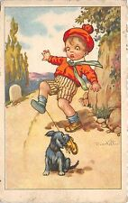 B82886 Stolen shoe Signed Mastelli child dog comic painting  front/back scan