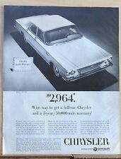 1963 magazine ad for Chrysler - Newport 4-door sedan with 5 year warranty
