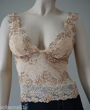 Marciano by Guess Beige Floral Lace Beaded Sequin Top Size M