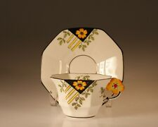 Vintage British Melba Art Deco Octagon Floral Figural Cup and Saucer