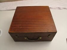 VTG FINGER JOINTED WOOD STORAGE CASE FOR TRANSIT SEXTANT ORNATE BRASS LATCHES
