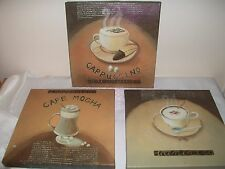 3 COFFEE PICTURES / CANVAS  ideal for kitchen / coffee bar / cafe  (837ht)