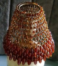 Vtg. Shade / Craftmade Glass Beads/Metal Wire ~ Amber/Brn/Orange ~ Made in India