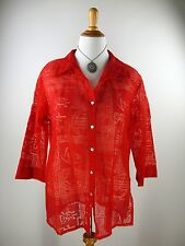 sz 3 L XL CHICO'S Blouse Red Asian Chinese Print Burnout Linen Blend Top Shirt