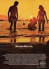 "1969 PanAm Pan ""Marriage of the Rocks"" Couple on the Beach with Kids PRINT AD"