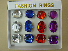 Hot Sale 12-PCs Fancy Pimp Pirate Gemstone Party Ring Jewelry Assorted Color