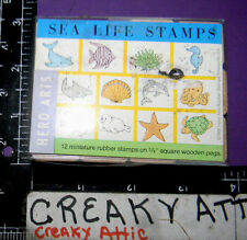 SEA LIFE 12 TINY RUBBER STAMPS HERO ARTS WHALE SEAHORSE OCTOPUS TURTLE DOLPHIN