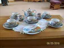 Soko Japan Hand Painted Vintage Porcelain China 19 Piece Geisha Girl Tea Set