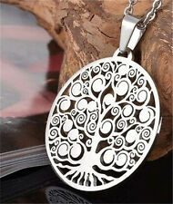 Fashion Stainless Steel Silver Hollow Out Peaceful Tree Of Life Pendant Necklace