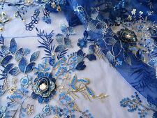 Royal Blue Emb Beaded Sequin 3D Bridal Tutu Dress Stage Fabric #10BE15B 50 cm