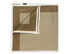 NEW KITON SILK POCKET SQUARE BROWN LATTICE WEAVE PRINT $215 MSRP ITALIAN LUXURY