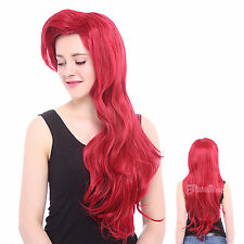 USA Ship Red Little Mermaid Ariel Long Wave Curly Dark Full Cosplay Wigs ZY91