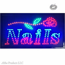 "Large 24x13"" Bright NAILS Mani Pedi Beauty Salon Shop Store LED Open Sign neon"