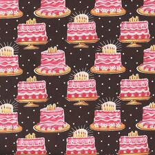 BIRTHDAY CAKES WITH CANDLES ON BROWN Cotton Fabric BTY for Quilting Craft Etc