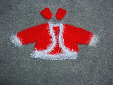 """Pretty red & white cardigan for Baby Annabell or similiar size doll 17""""-19"""" doll"""