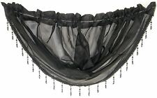 "BLACK VOILE CRYSTAL BEADED TRIM SWAG ROD POCKET CURTAIN DRAPE 22X18"" 56X45CM"