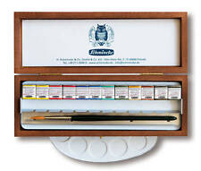 SCHMINCKE - HORADAM FINEST WATERCOLOUR PAINTS - 12 HALF PAN - WOODEN BOX