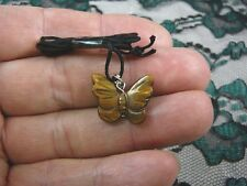 (an-but-5) BUTTERFLY BROWN tiger's eye carving Pendant NECKLACE FIGURINE gem