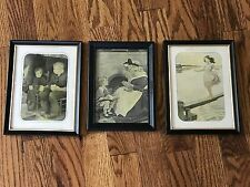 Vintage Set of 3 Old Framed Cute Boy Girl Grandma Father Photos Pictures 4x6