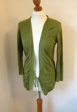 Jigsaw Green Linen 3/4 Sleeved Cardigan Ruching, Tie Front Size S