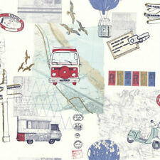 Vintage Travel Map Backpacker Theme Wallpaper Red/Blue Sale Free Delivery