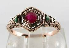 COMBO 9K 9CT ROSE GOLD INDIAN RUBY & EMERALD ART DECO INS FILIGREE RING