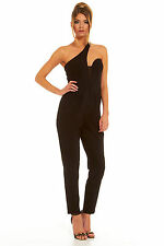 £165 BNWT Forever Unique Black Asymmetric Dolls Fitted House Jumpsuit 8 10 12