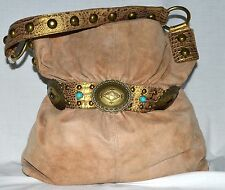 Kathy Van Zeeland Southwestern Concho Belt Design Tan Faux Suede Shoulder Bag