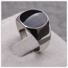 Men's Elegant Signet Ring Black Onyx Platinum Over Stainless Steel USA
