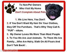 Funny Dog Black Pug House Rules Refrigerator / Magnet Gift Card Idea