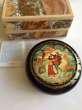 "Russian lacquer hand painted box  "" WINTER TIME"" from Mstera  NEW"