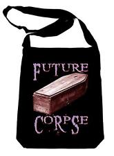 Future Corpse w/ Coffin on Black Sling Bag Gothic Deathrock Book Bag Occult Dead